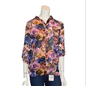 Sheer Floral Button Up Top With Open Back